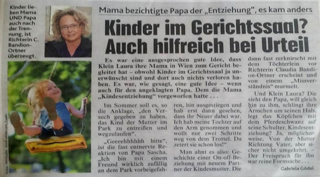 Richterin Claudia Bandion-Ortner -> Kinder im Gerichtssaal? Auch hilfreich beiUrteil